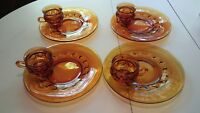 Vintage Set of 4 Indiana Glass kings thumbprint  Gold/Amber snack plates w cups