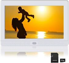 Digital Picture Frame IPS Screen, 1080P Video, Background Music,  (7 Inch White)