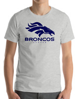 Denver Broncos GRAY T-Shirt NAVY Graphic Cotton Adult Logo  S-2XL