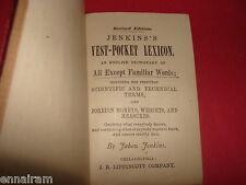 """Jabez Jenkins Vest-Pocket Lexicon 1861 Leather 563 pgs. 3.5"""" x 2.5"""" Antiquarian"""