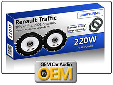 Renault Traffic Front Door speakers Alpine car speakers + Adapter Pods + Tweeter