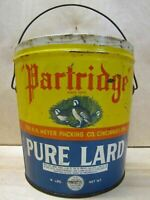 'PARTRIDGE' PURE LARD 4lb Tin since 1876 H H Meyer Packing Co Cincinnati O