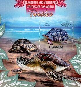 Uganda Turtles Stamps 2013 MNH Tortoises Endangered Species Reptiles 1v S/S