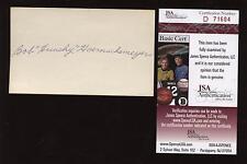 Bob Hunchy Hoernschemeyer Signed Index Card JSA