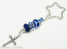 #6175 -- BLUE RIBBON AWARENESS CHARM SILVER 925 GLASS BEADS KEY CHAIN