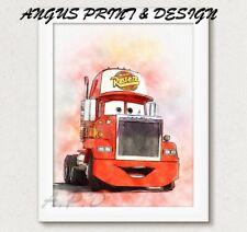 MAC  Disney Pixar Cars WATERCOLOUR  Picture Birthday Gift  A4