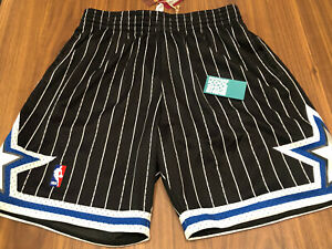 MITCHELL & NESS HWC NBA 1994-95 ORLANDO MAGIC PINSTRIPE SHORTS BLACK BLUE LARGE