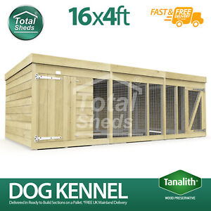 Dog Kennel & Run 16ft x 4ft Fully Pressure Treated Tanalised Timber Free Deliver