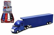 "KINSMART 1:68 DISPLAY KENWORTH T700 CONTAINER Blue ""PULL BACK CAR"" Semi Trucks"