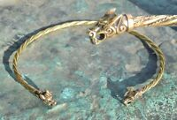 Wolf Viking Celtic TORQUES Torc Torq Necklace Iron Age Warrior Jewel Metal Brass