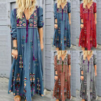 Women Plus Size V Neck Print Lace Up Long Sleeve Boho Dress Party Maxi Dress