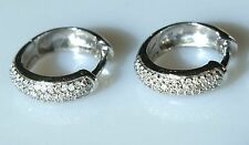 Estate Beautiful Diamond Huggie Round Earrings White Gold 14k Solid Gold