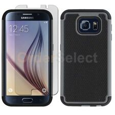 NEW Hybrid Rubber Case+LCD HD Screen Protector for Phone Samsung Galaxy S6 Gray