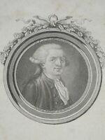 MEDAILLON MINIATURE GRAVURE XVIII PORTRAIT DEPUTE DELAHAYE DELAUNAY ORLEANS 1790