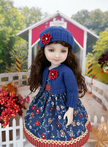 """Autumn Bliss - dress, sweater & shoes for 14.5"""" Ruby Red Fashion Friends doll"""