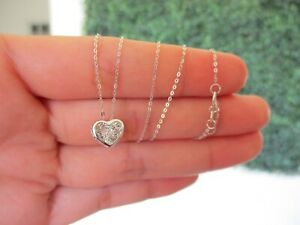 SALE‼️.02 Carat Dancing Diamond Heart Necklace 18K White Gold DDN01  sep