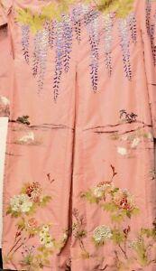 Vintage Japanese Peach Silk Embroidery Kimono Robe Wisteria Flower Crane Bird