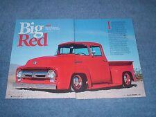 """1956 Ford F-100 Pickup Resto-Rod Article """"Big Red"""" M-100 Big-Window BBW Custom"""