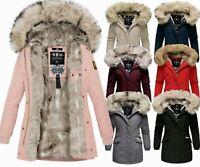 Navahoo Premium sehr warm Damen Winter jacke FVS2 Parka Mantel Luxus Cristal