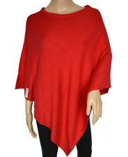Exclusive Crew Neck Cashmere Poncho- Royal Red Color Cashmere Handmade NHZ