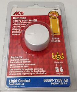 Ace Single Pole Light Control Rotary Dimmer Switch White (34049)