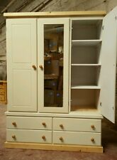 COUNTRY (IVORY) 4 DRAWER TRIPLE WARDROBE (MIRORED) WITH SHELF NOT FLAT-PACK!!!