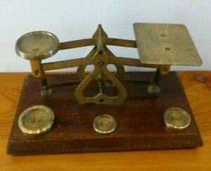 Vintage Brass Postal Letter Scales. Made In England. Length 18cm.
