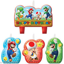 SUPER MARIO CANDLE SET (4pc) ~ Birthday Party Supplies Cake Decorations Nintendo
