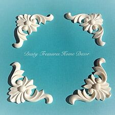 4x Shabby Chic Corner French Furniture Moulding Furniture Applique Carving Onlay