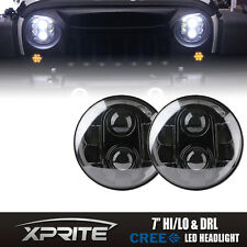 "7"" 120W LED G1 Projector Headlights With Half Round Halo For 97-17 Jeep Wrangler"