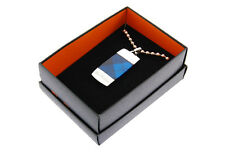 BRAND NEW MENS BEN SHERMAN STAINLESS STEEL DOG TAG NECKLACE BLUE TARTAN DETAIL