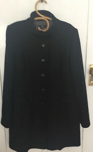 Cue Black Wool Angora Coat Size 14