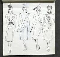 Moda femminile - Album figurini - Modelli - Disegni originali di stagista - 1940