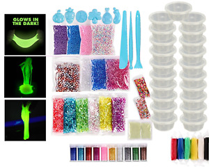 Slime Kit Making Kids Art Craft Glitter & Accessories Containers, Glow In Dark