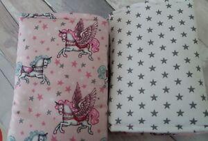 Unicorn Pegasis Cot Bar Bumpers/Wraps pink grey