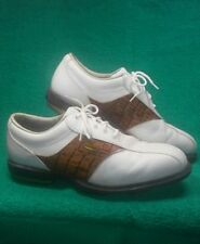 FootJoy Men's DryJoys #53570 Golf Shoes White/croc Brown Men's 10m Us