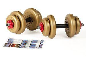 York 12kg Gold Adjustable Vinyl Spinlock Dumbbell Home Weight Lifting Set!