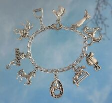 Equestrian Charm Bracelet - Horse themed pewter charms on Stainless Steel Chain