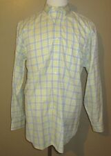 Mens Size L/R Brooks Brothers Yellow/Baby Blue Plaid Button Down Dress Shirt
