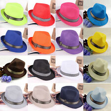 Fab Vogue Unisex Fedora Trilby Gangster Cap Beach Sun Hat Straw Boonie Hat