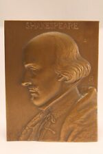"""William Shakespeare Medallic Art Company Bronze Paperweight Plaque """"Ch"""" 1929"""