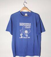 Vintage Jerzees T Shirt Ranchero Village Weslaco Texas Blue Adult Size XL