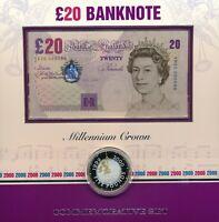 UK 2000 MILLENNIUM £20 NOTE & SILVER PROOF CROWN SET - YR20 000598 RARE