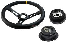 "NRG 350mm 3"" DP Steering Wheel Leather BK St Yellow 170H Hub Gen2.5 BK Release a"