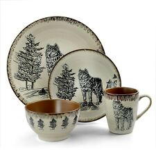 16 PC Wolf Dinnerware Dish Set Plate Salad Bowl Mug Kitchen Wildlife Animal Game