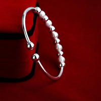 Charm Women 925 Sterling Silver Plated Beads Bangle Cuff Bracelet Jewelry Gift