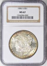1880-S $1 Morgan Silver Dollar NGC MS 67, Toned, Superb!