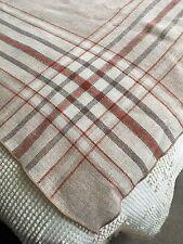 "Vintage Tablecloth Khaki Beige Burgundy Linen Blend Stripe 74x54"""