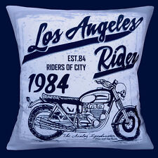 "NEW LOS ANGELES RIDER 1984 MOTORBIKE GREY SHADES BLACK 16"" Pillow Cushion Cover"
