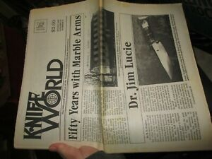 NOS VINTAGE KNIFE WORLD NEWSPAPER MARBLES ARMS GLADSTONE MICHIGAN AUG 1997 NO 23